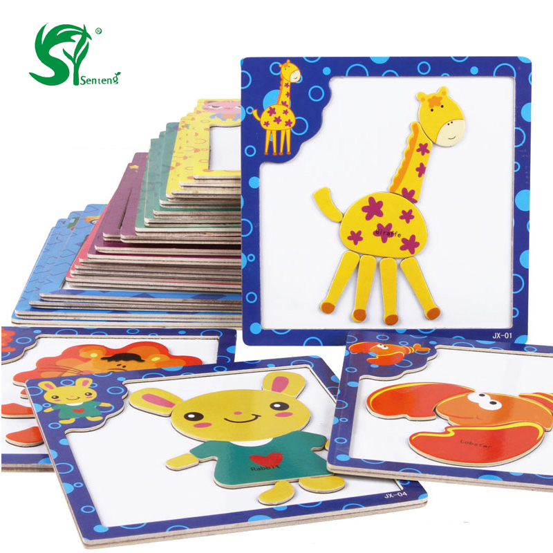 montessori Wooden Toys for Children 3D Magnetic Puzzles Tiger/Bear/Frog Cartoon Animals kids toys Tangram Child christmas Gift(China (Mainland))