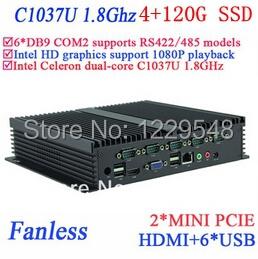 mini pc Industrial application fanless IPC INTEL Celeron C1037u 1.8 GHz 6*COM VGA HDMI RJ45 usb windows or Linux 4G RAM 120G SSD(China (Mainland))