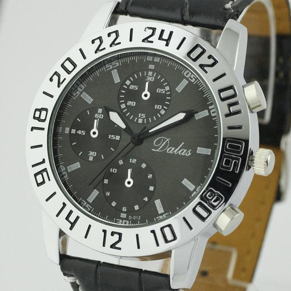 Leather Classic Casual Round Case Design Gentle Quartz Wrist Watch Men Watches