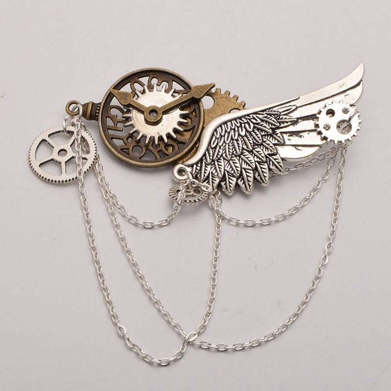 1pc Steampunk Gears Clock Wings Pattern Brooch