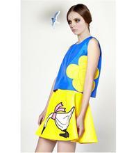 New Stunning Women 2014 European Style Beautiful Embroidered Blue Tank Top+Mini Yellow Dress Fashion Summer Suit(China (Mainland))