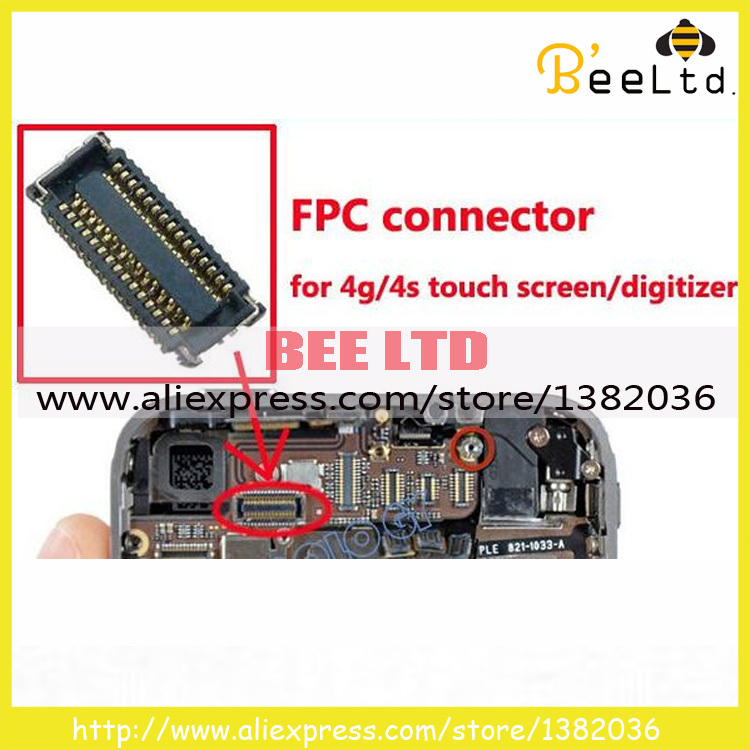 10pcs/lot Wholesale Touch screen on motherboard logic board connector FPC for iPhone 4 4g 4s(China (Mainland))