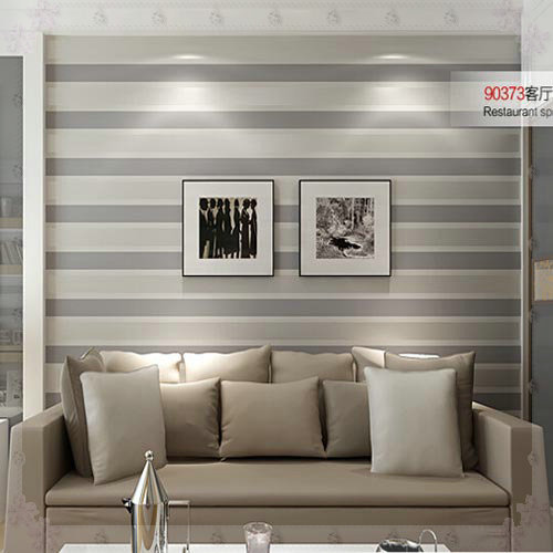 3d wall paper stripe wallpaper striped flocking bedroom or Grey wallpaper living room
