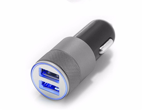 High Quality Mini Aluminum Universal 12V 2.1A Dual Usb Car Charger Adapter Cable For Mobile Cell Phones Tablet PC Free Shipping