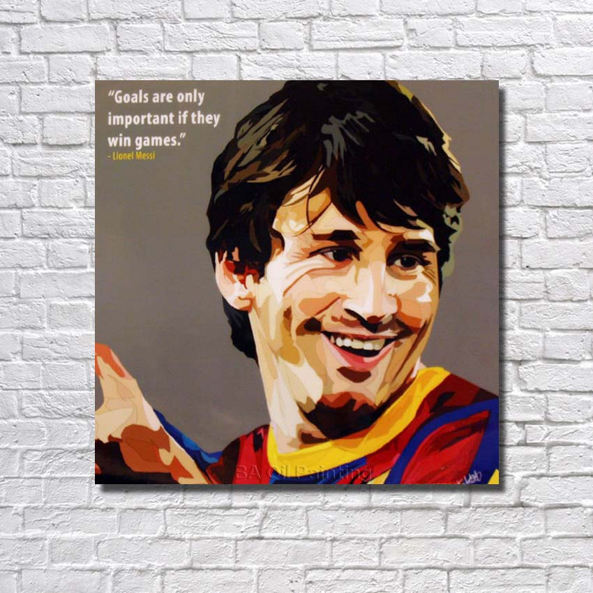 Barcelona Lionel Messi Pop Art Football Star,Detailed Handmade Modern Abstract, RW387(China (Mainland))
