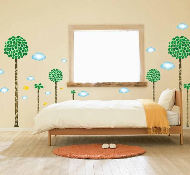 새로운 큰 ld2034 키가 큰 나무 새 벽 스티커 PVC 내부 벽 종이 홈 ...