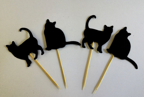 Cat Lady Cupcake Toppers wedding pets Birthdays baby shower Party treat food picks photo booth propscpc001(China (Mainland))