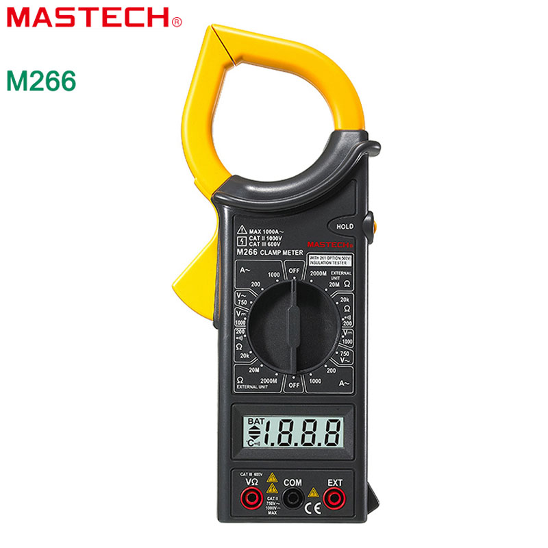 Digital Clamp Meter MASTECH M266 AC/DC Voltage AC Current Resistance Frequency Tester with temperature measurement(China (Mainland))