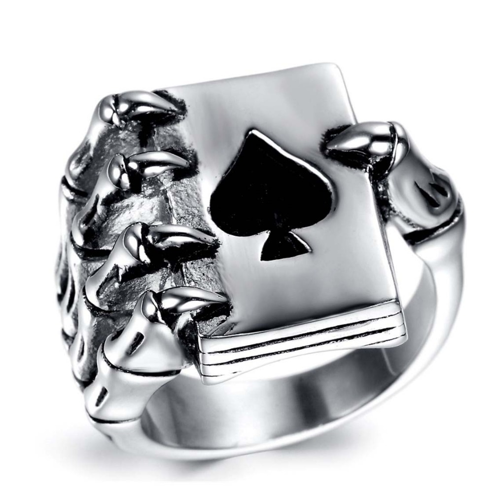 Fashion Vintage Style Stainless Steel Men Rings Gothic Skull Hand Claw Poker Playing Card Design