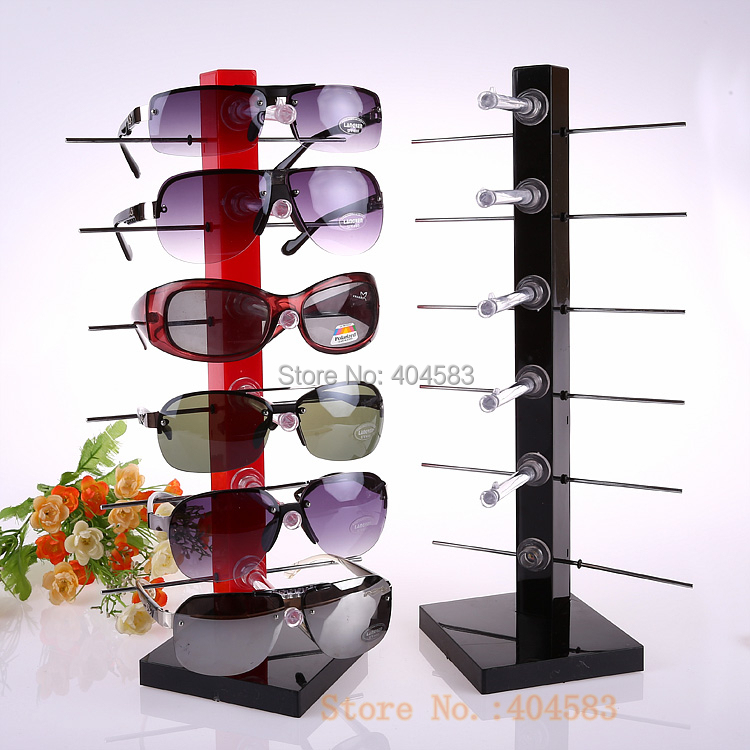 2pcs/lot 6-pair-of-Eyewear Spectacles Sunglasses display stand holder rack detachable reading glasses stand black red yellow(China (Mainland))