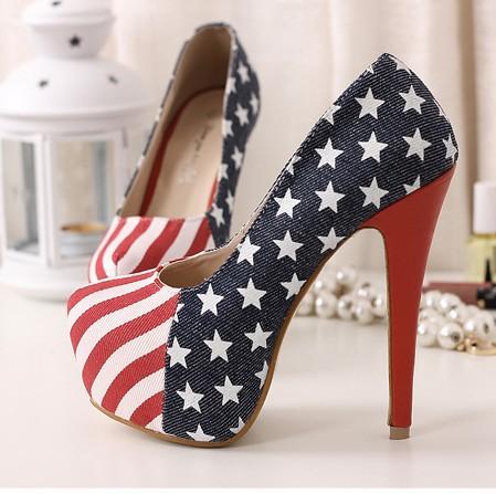 HOT 14cm Sexy Party Pumps Shoes American Flag Stiletto platform Super High Heels Blue FD999-22