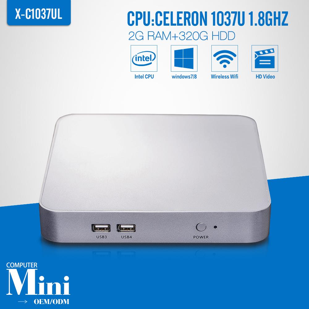 Mini PC Linux Celeron C1037U 2G RAM 320G HDD+WIFI Ubuntu Linux 12.04 Small Computer Case Support Hd Video Thin Client(China (Mainland))