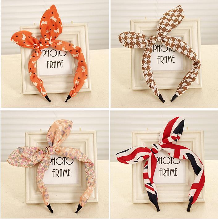 New Arrival Fashion Butterfly Bow Flower Hair Garland Lovely Rabbit Ear Headband for Headwear Women Hair Accessories Hot(China (Mainland))