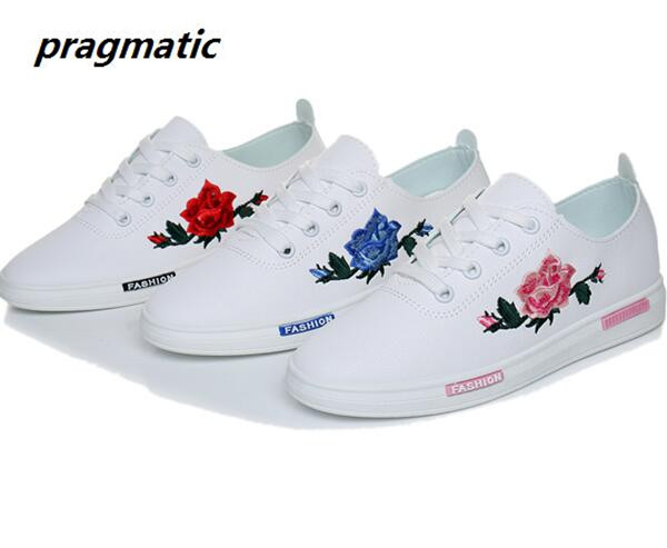 Fashion Embroidery Rose moccasins women White casual shoes Female soft Breathable walking shoes cute students shoes Tufli Tenis(China (Mainland))