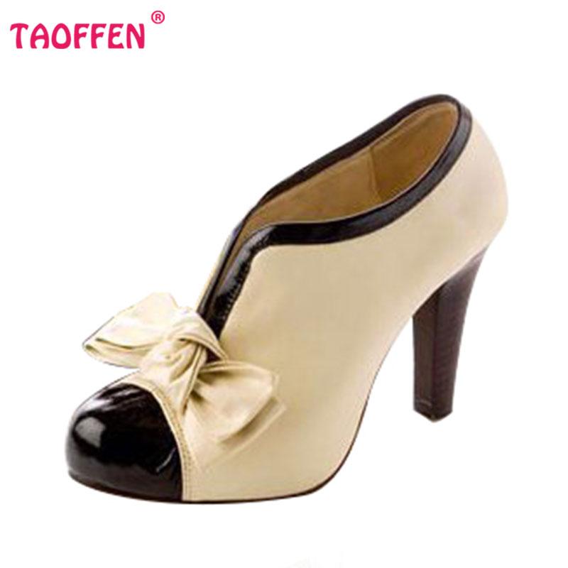 Frauen High Heel Schuhe Neue Sexy Lady Beige Bogen Vintage Bowknot Pumps Plattform Runde Kappe Damen H023 Größe 35-43(China (Mainland))