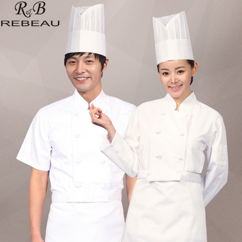 (10sets Hat&Shirt&Apron)white Chef's half sleeve hotel restaurant kitchen cook clothing double configuration buckle chef uniform(China (Mainland))