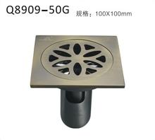 Free shipping Bathroom accessories deodorant Brass square Antique Brass floor drain 100mm*100mm G8909-50G