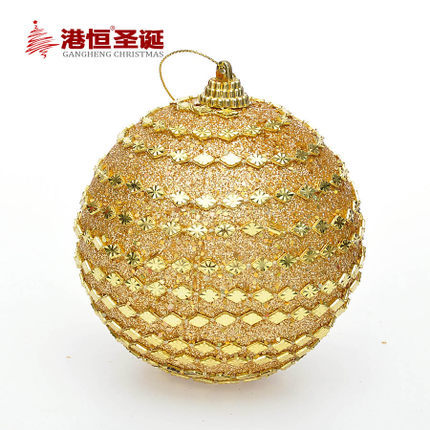 Christmas Tree Ornaments 8 cm gold Chain Christmas balls 25 g (A pack of six balls) (GHB004-1)(China (Mainland))
