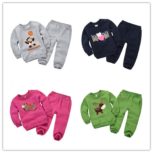1-5Y 2015 new autumn Baby clothing sets boys cartoon sweater pants fleece toddler little girl clothes clothing fleece DF1002(China (Mainland))
