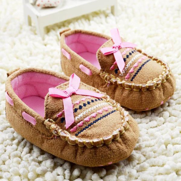 New Cute Brown Baby First Walk Shoes Softborn Cotton Bow-knot Shoes  Hot Free Shipping