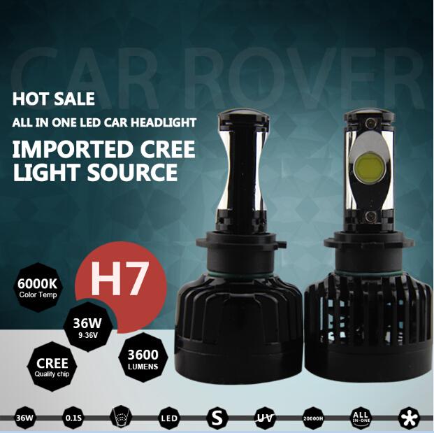 New!! 2 pcs/ lot Super bright h7 led headlights 36w 6000k Car Auto Fog Driving Lights Headlight led h7<br><br>Aliexpress