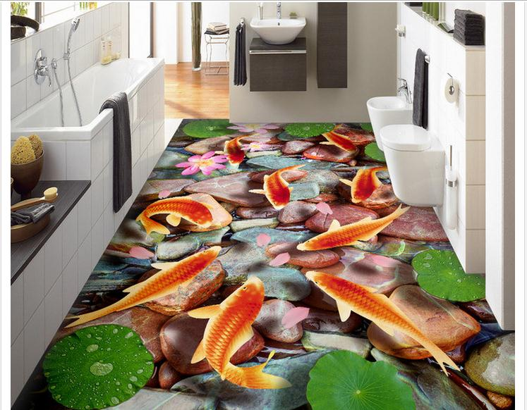 Free shipping custom mural 3d PVC Floor painting wallpaper Chinese style nine fish living room bathroom 3D floor tiles wall home(China (Mainland))