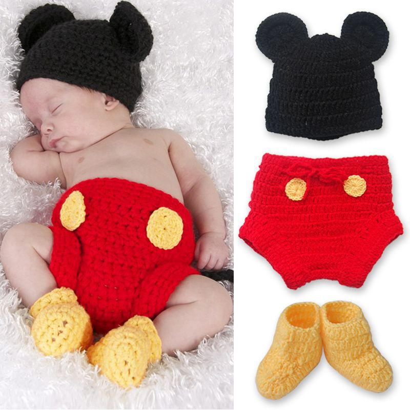1 Set Unisex Baby Infant Crochet Baby Mickey Mouse Crochet Baby Hat, Diaper Cover, Boots Photo Prop Cap Christmas Outfit(China (Mainland))