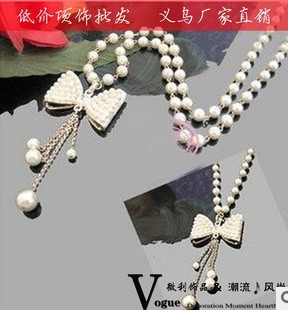 Accessories pearl bow rhinestone pendant necklace vintage tassel long design - weili Jewelry store