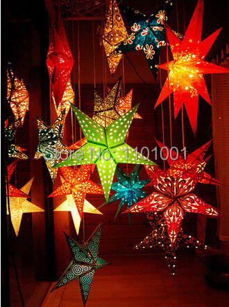 5pcs 45CM Christmas decoration stereo double faced christmas paper five-pointed star decoration paper star lantern(China (Mainland))
