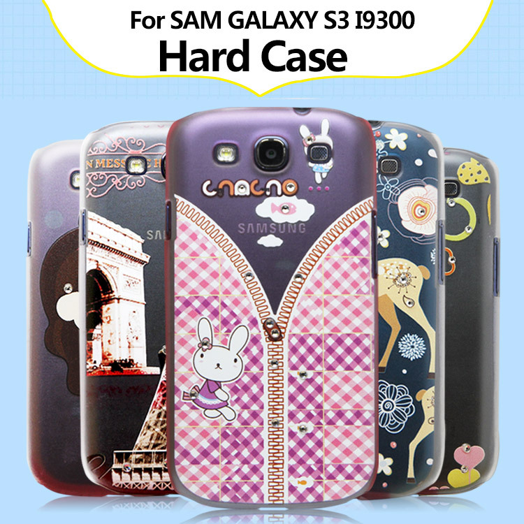 Diamond Colorful PC Hard Cover Case For Samsung galaxy s3 i9300 Hard Phone Back Case Cover For Galaxy S3 +2pcs clear films(China (Mainland))