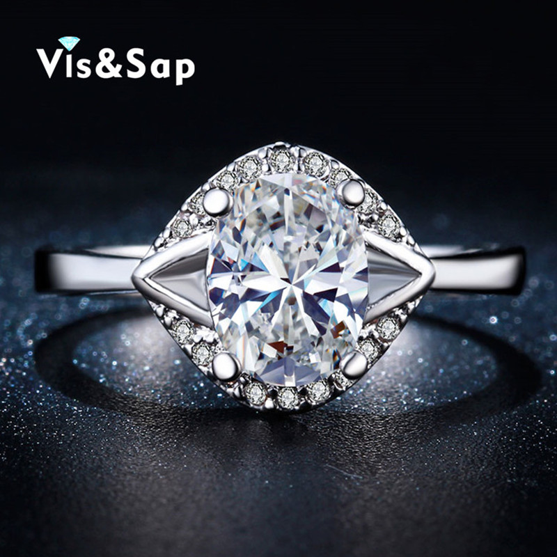 Rings For women White gold plated Oval stone Ring AAA cubic zirconia Wedding bands engagement ring fashion jewelry Bijoux VSR261(China (Mainland))