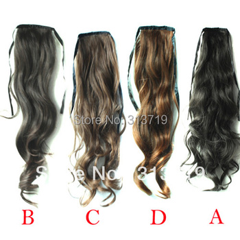 Hot Women Lace up Ponytail Horsetail Long Hair Piece Wavy Pony Hair Extension