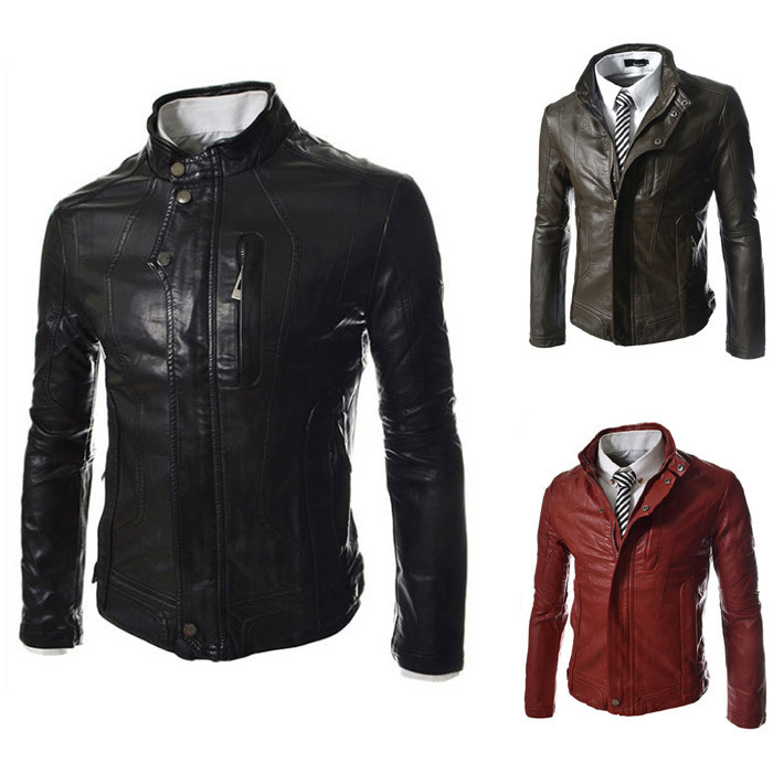Motorcycle Leather Jacket Men Slim Fashion Korean Stitching Full Flight Leather Red Jacket Clothing Jaqueta De Couro MasculinaОдежда и ак�е��уары<br><br><br>Aliexpress