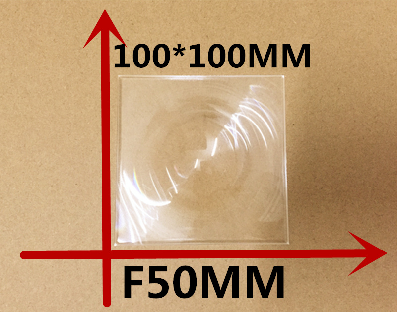 1pcs/lot square 100*100MM Focal length 50 mm High concentrated lens DIY Solar concentrator plane amplification fresnel Lens(China (Mainland))