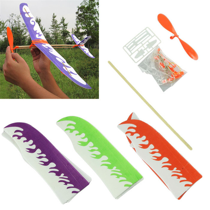 Superior New DIY Airplane Model Aircraft Model Powered made by Rubber Band Children Toys June10(China (Mainland))