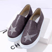 2016 Woman casual platform shoes Fashion Bling stars Women's Shoes Canvas Flats mujer zapatillas Creepers Free shipping BJ010