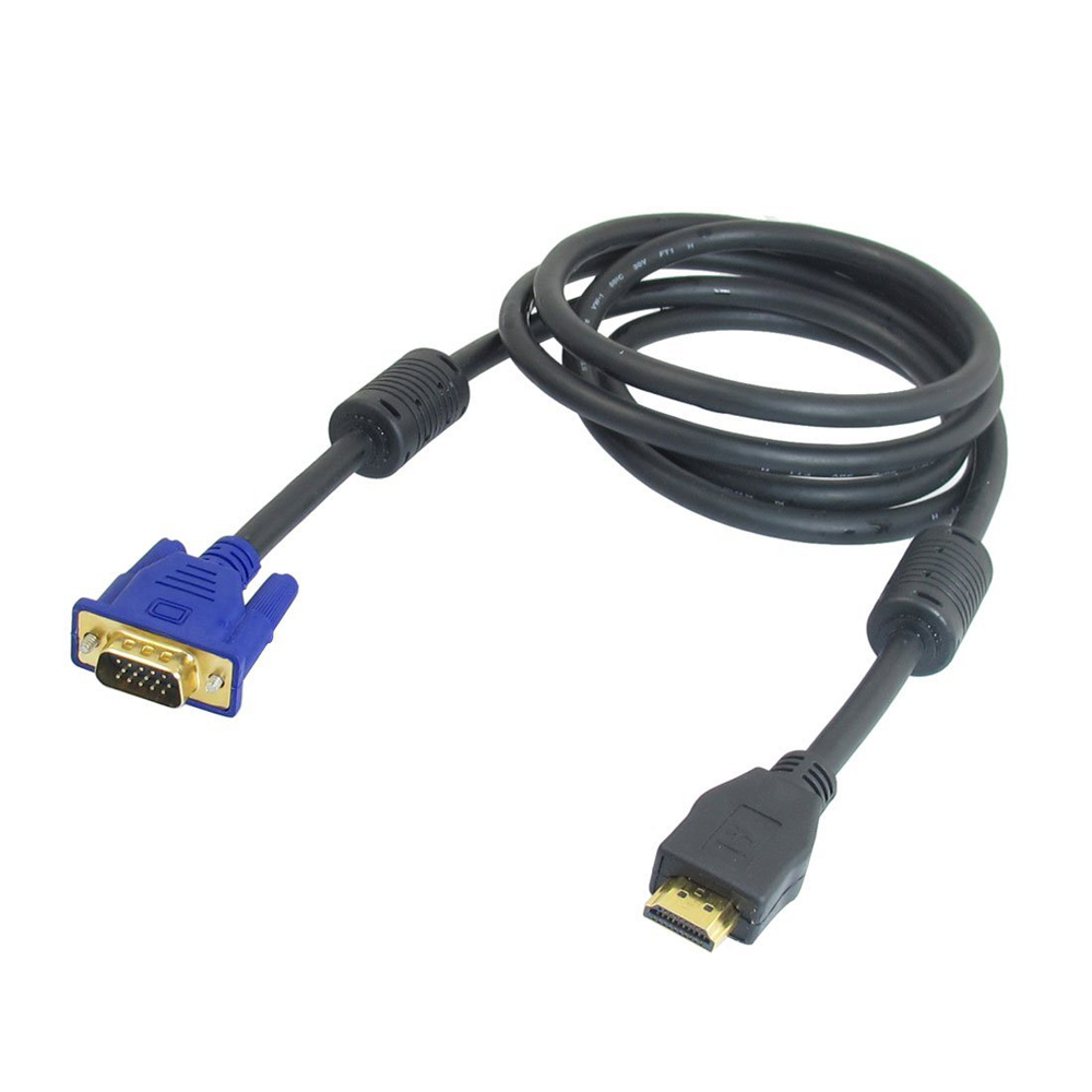 1.6M 5.2Ft HDMI Type A Male to VGA 15 Pin Male Cable Black for PC TV Fast Shipping(China (Mainland))