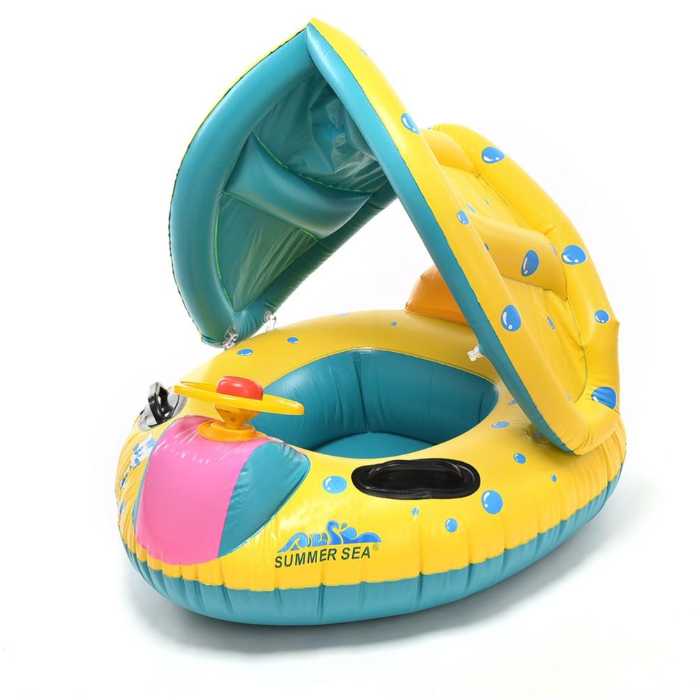 1 шт. бассейн воды сиденье с анти-уф навес надувные малышей детские плавать кольцо поплавка сиденья бассейн аксессуары