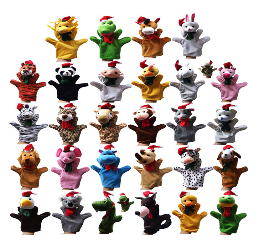 1 set 28 pcs Different Styles Christmas Gift Hand Puppets Kid Toy Play Free Games Tiger Panda Rabbit Rat Lion Horse Dragon Frog(China (Mainland))