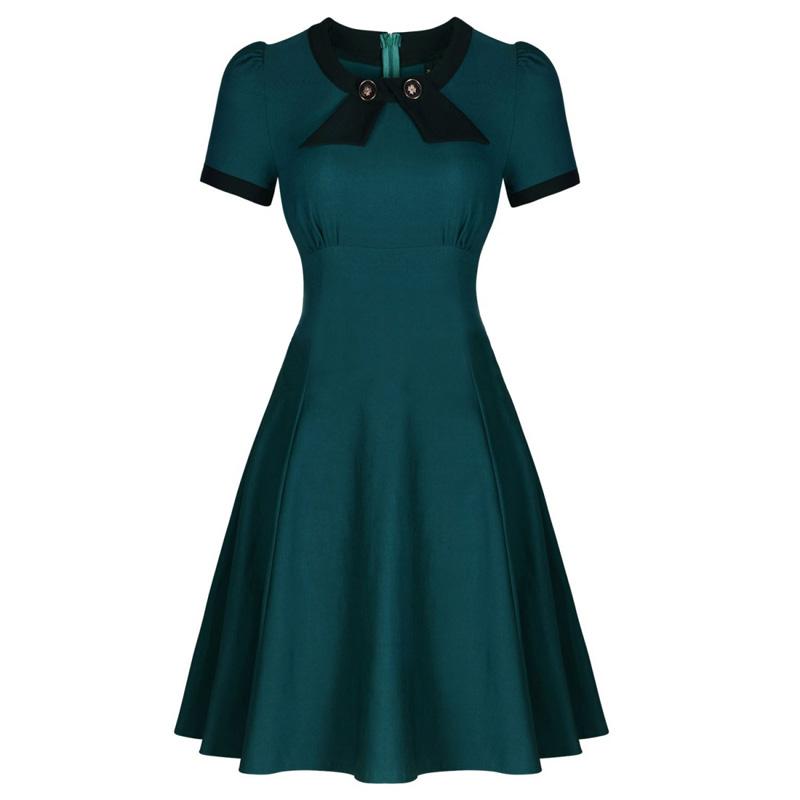 Dark Blue Garment Womens Short Sleeve Elegant Rockabilly Retro 50s Bow Vintage Lady Casual Formal Evening Party Swing Dresses