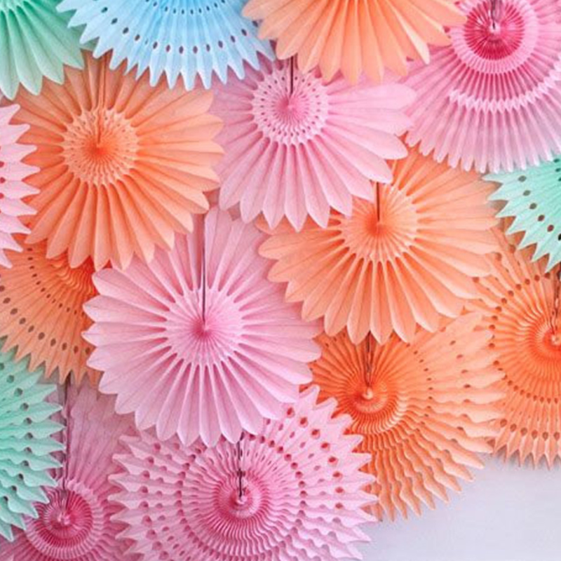Different Size Paper Fans Round Wheel Disc Birthday Kids Party Wall Decoration Event Kindergarten Celebration Home Decor(China (Mainland))