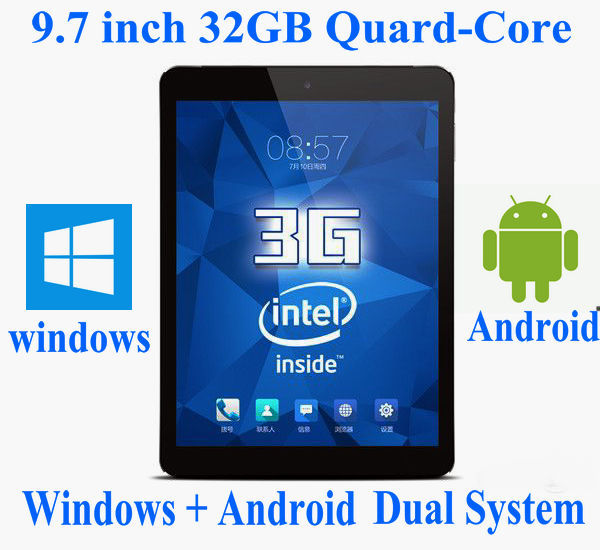 """9.7"""" Inch FHD 32GB Laptop Tablet PC Mini Netbook Computer Microsoft Windows 10 and Android 4.4 Quad Core 2 IN 1 Dual System(China (Mainland))"""