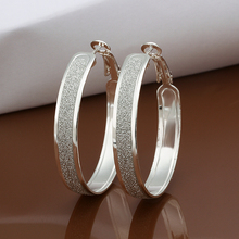 Circles Vintage Hoop earrings 925 Solid silver Accessary e465 gift box Free Fashion New Jewelry Brincos de Prata(China (Mainland))