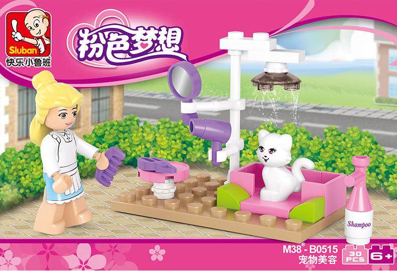 Sluban  Girl Pink Dream Series Pet grooming Cat &amp; Mailing Letter Postman Bike Building Block Sets Educational DIY Brick Toy <br><br>Aliexpress