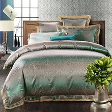 6/4pcs Green Jacquard silk bedding set queen king Luxury Satin quilt/duvet/ bed linen bedclothes set home textile(China (Mainland))