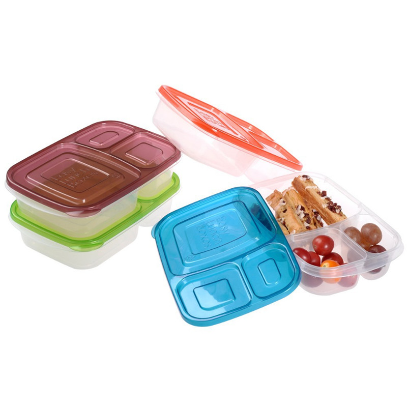 3 compartment plastic food containers bento lunch box eco. Black Bedroom Furniture Sets. Home Design Ideas