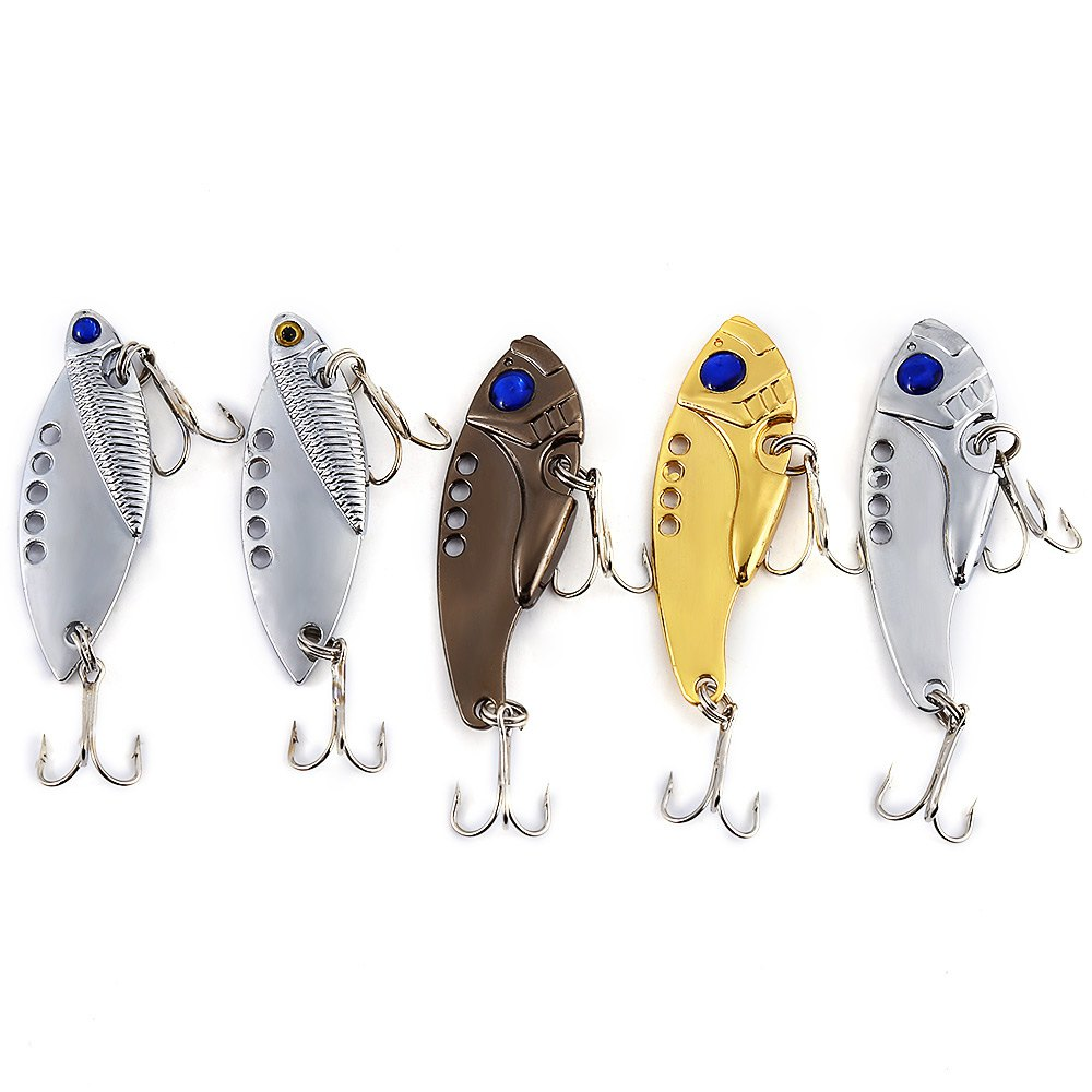 2016 New Arrival 5 PCS Metal Fishing Lures Body Details Fishing Lures Artificial with 2 Sharp HooksCrank Fishing(China (Mainland))