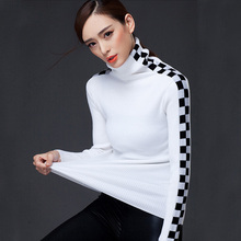 2016 Women Sweater winter Turtleneck Sweater Female Thermal All-match Plaid knitted Sweater Pullover Sweater Female(China (Mainland))