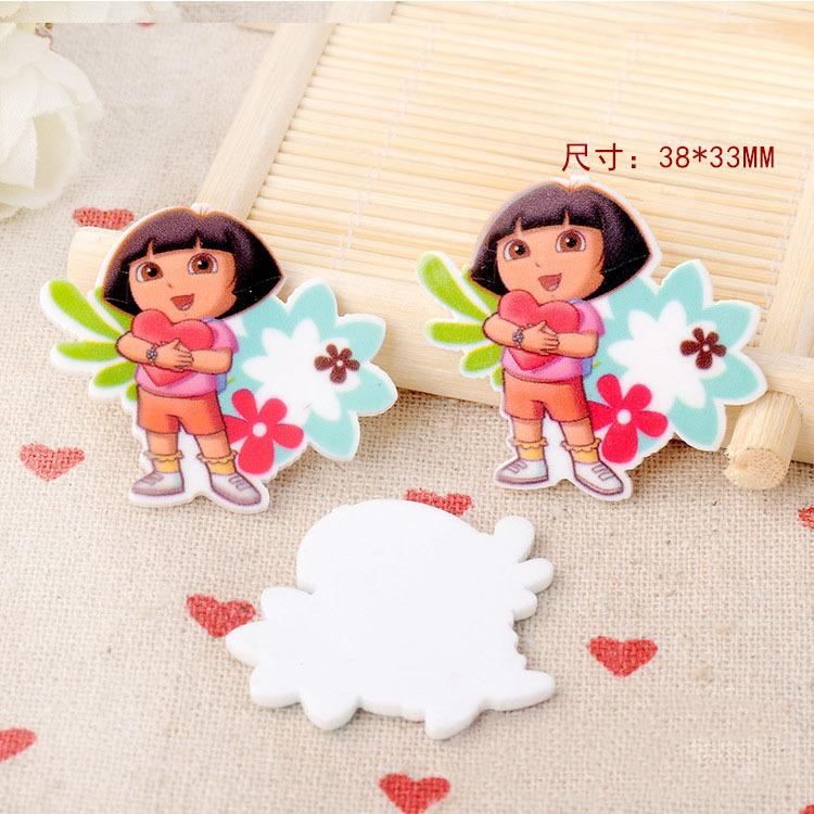 Kawaii Diy Heart Dora The Explorer Mini Figurine Crafts Holiday Garden Decoration Flat Back