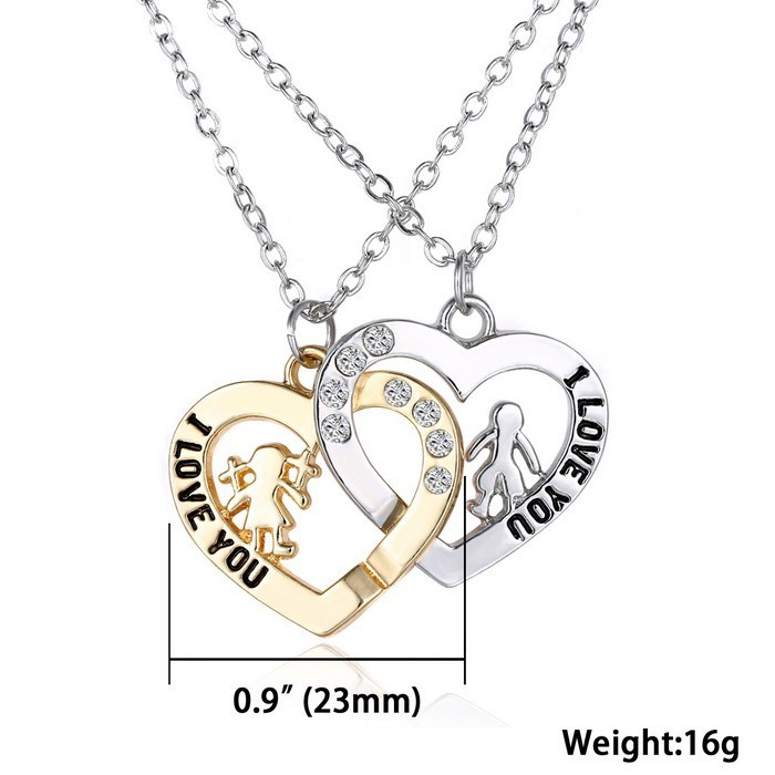 """Heart Crystal Romantic """"I love you"""" Pendant Necklace for Lovers"""